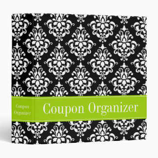 Lime Green and Black Damask Coupon Organizer 3 Ring Binders