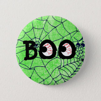 Lime Green and Black Halloween Boo Eyeballs Button