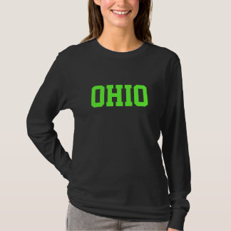 Lime Green and Black OHIO Text T-Shirt