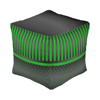 Lime Green and Black Pattern Pouf