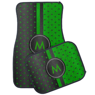 Lime Green and Black Polka Dots Car Mat
