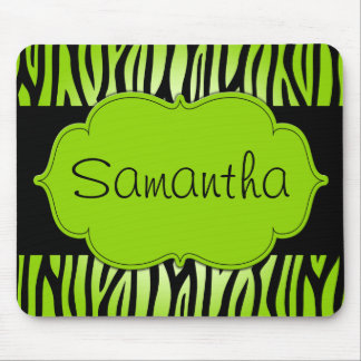 Lime Green and Black Zebra Personalized Mouse Pad