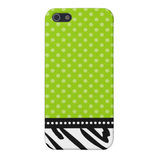 Lime Green and Black Zebra Polka Dot Case For The iPhone 5