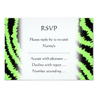 Lime Green and Black Zebra Print Pattern Card