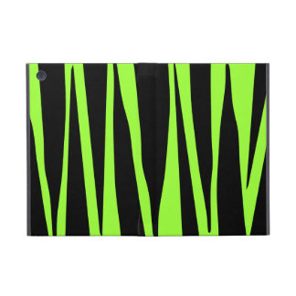 Lime Green and Black Zebra Stripes Animal Pattern iPad Mini Cases