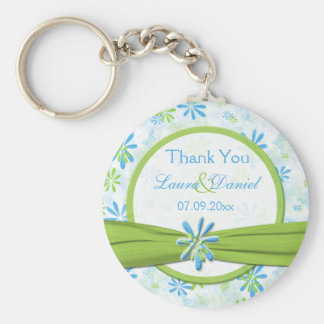 Lime Green and Blue Floral Wedding Favor Keychain