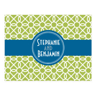 Lime Green and Blue Patterns Postcard