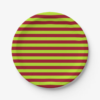 Lime Green and Burgundy Stripes 7 Inch Paper Plate
