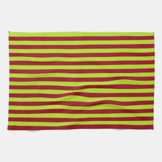 Lime Green and Burgundy Stripes Kitchen Towel