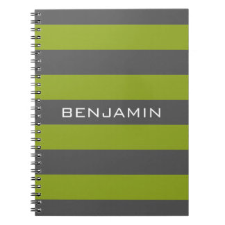 Lime Green and Gray Rugby Stripes with Custom Name Spiral Note Books