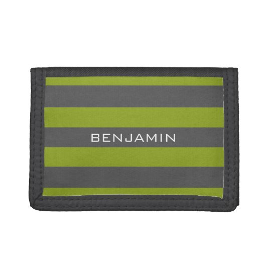 Lime Green and Grey Rugby Stripes with Custom Name Trifold Wallet