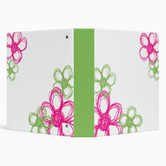 Lime Green and Hot Pink Wild Flowers 3 Ring Binder
