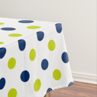 Lime Green and Navy Blue Polka Dots on White Tablecloth