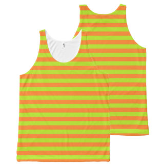 Lime Green and Orange Stripes All-Over-Print Tank Top