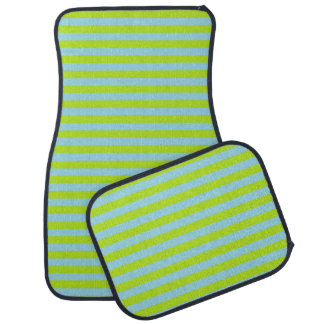 Lime Green and Pastel Blue Stripes Car Mat