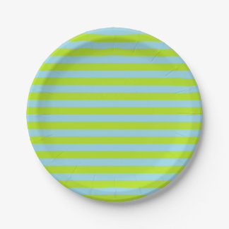 Lime Green and Pastel Blue Stripes Paper Plate