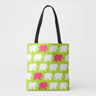 Lime green and pink elephants design bag