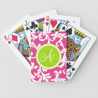 Lime Green and Pink Monogrammed Damask Print Bicycle Playing Cards