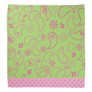 Lime Green and Pink Paisley and Polka Dots Bandana