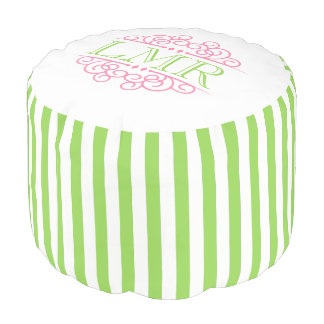 Lime Green and Pink Vintage Frame Monogram Pouf