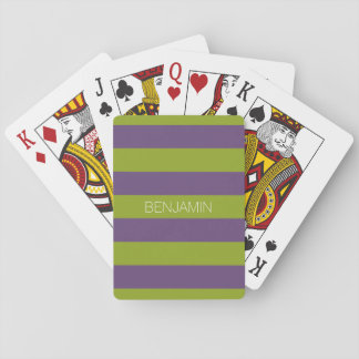 Lime Green and Purple Rugby Stripes Custom Name Playing Cards