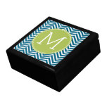 Lime Green and Teal Chevron Pattern Monogram