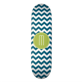 Lime Green and Teal Chevron Pattern Monogram Skate Board