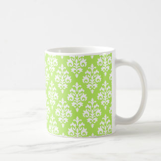 Lime Green and White Damask Coffee Mug