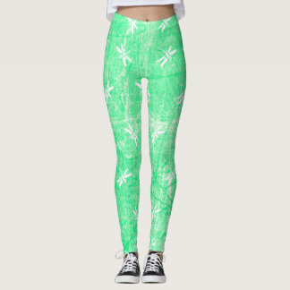 Lime Green and White Dragonflies Leggings