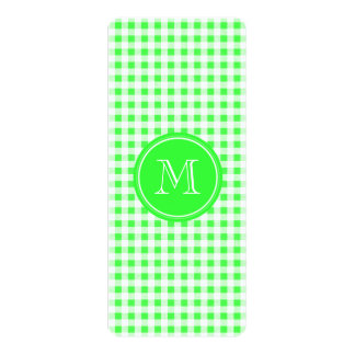 """Lime Green and White Gingham, Your Monogram 4"""" X 9.25"""" Invitation Card"""