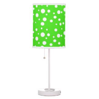 Lime Green and White Polka Dot Table Lamp