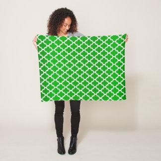 Lime Green and White Quatrefoil Pattern Fleece Blanket
