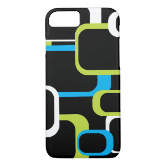 Lime Green and White Retro Squares Black iPhone 8/7 Case