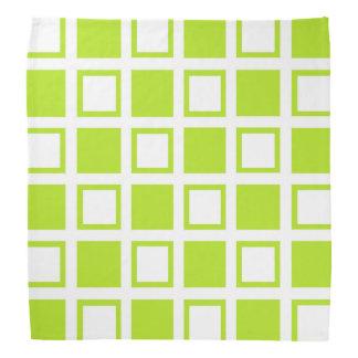 Lime Green and White Squares Bandana