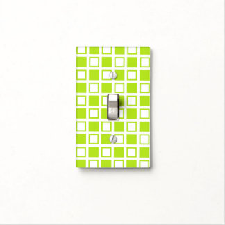 Lime Green and White Squares Light Switch Cover