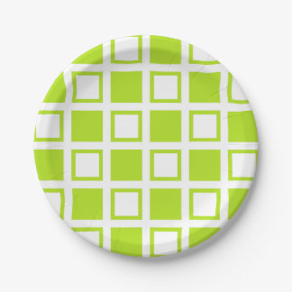 Lime Green and White Squares Paper Plate
