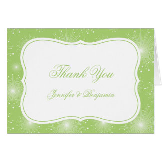 Lime Green and White Starbursts Thank You Card