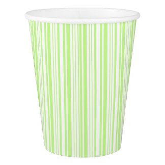 Lime Green and White Stripe Paper Cup