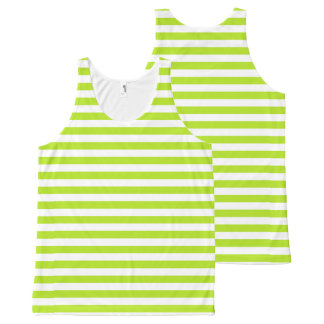 Lime Green and White Stripes All-Over-Print Tank Top