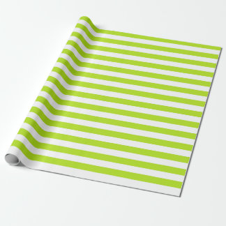 Lime Green and White Stripes Wrapping Paper