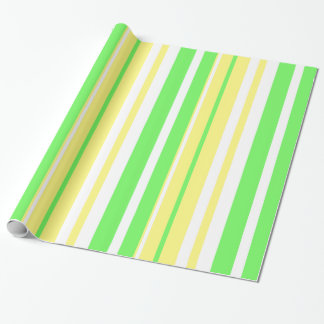 Lime Green and Yellow Striped Gift Wrap