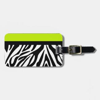 Lime Green and Zebra Animal Print Luggage Tag
