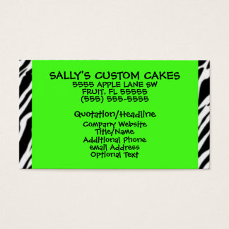 Lime Green and Zebra Print Business Card