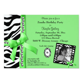 Lime Green And Zebra Striped Birthday Party Invite
