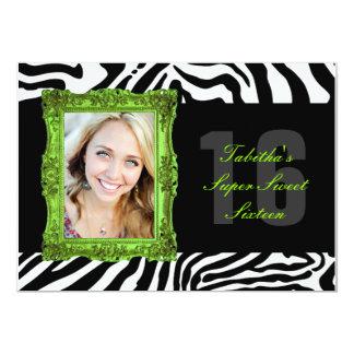 Lime Green and Zebra | Sweet Sixteen Invitation