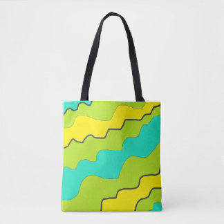Lime Green & Aqua Blue Abstract Modern Design Tote