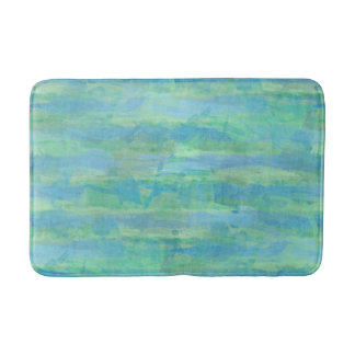 Lime Green Aqua Turquoise Blue Watercolor Stripes Bathroom Mat