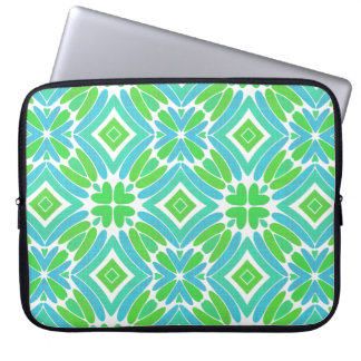 Lime Green Aqua Turquoise Retro Fantasy Pattern Laptop Sleeve