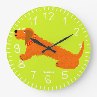 Lime Green Art Clock: John Dyer Sausage Dog Design Wall Clocks