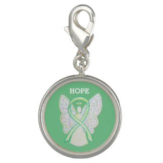 Lime Green Awareness Ribbon Angel Charm Bracelet